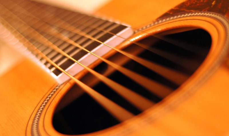 close-up photo of an acoustic guitar